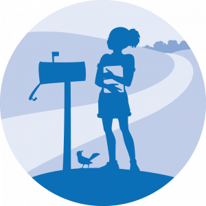 Book Delivery program logo, girl with book at mailbox