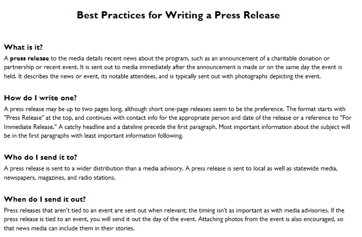Best Practices for Engaging with Local Media: Press Release & Media Advisory Resources